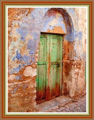Green Door On Adendorff Street H B With Decorative Ornate Printed Frame. Art Print by Gert J Rheeders