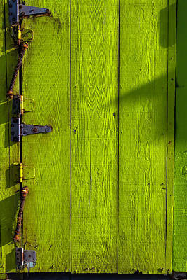 Green Door With Hinges  Print by Garry Gay