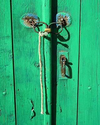 Green Door With Spectacles Art Print by Donald Buchanan