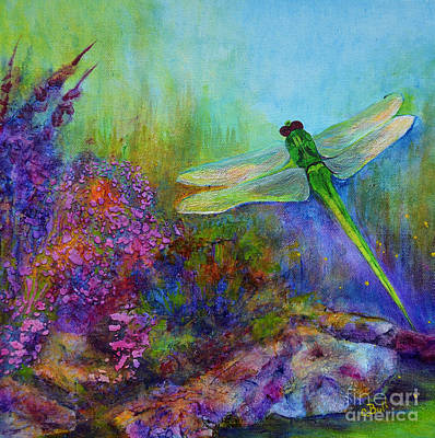 Original featuring the painting Green Dragonfly by Claire Bull