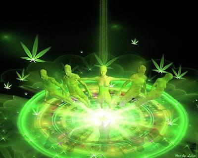 Digital Art - Green Dreams Levitation by Lilia D