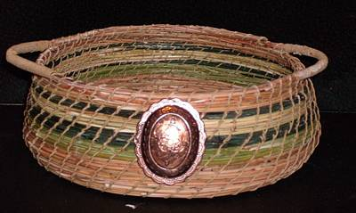 Pine Needles Mixed Media - Green Dyed And Natural Pine Needle Basket by Russell  Barton