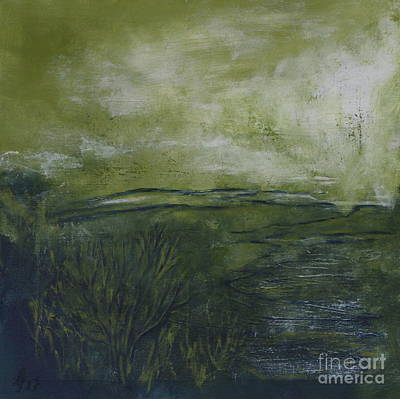 Beige Abstract Art Mixed Media - Green Earth by Christiane Schulze Art And Photography