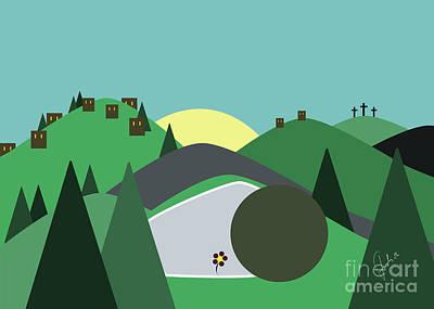 Holyland Digital Art - Green Easter by Fady Dow