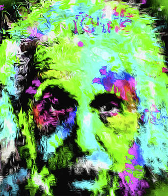 Mixed Media - Green Einstein by Nicholas Nixo
