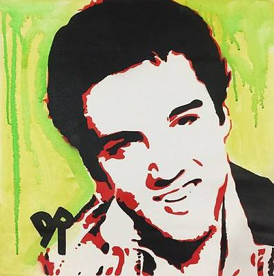 Mixed Media - Green Elvis by Dean Russo