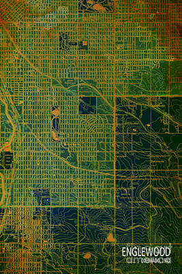 Antique Map Digital Art - Green Englewood 1940 Abstract by PablMap o Franchi