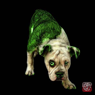 Painting - Green English Bulldog Dog Art - 1368 - Bb by James Ahn