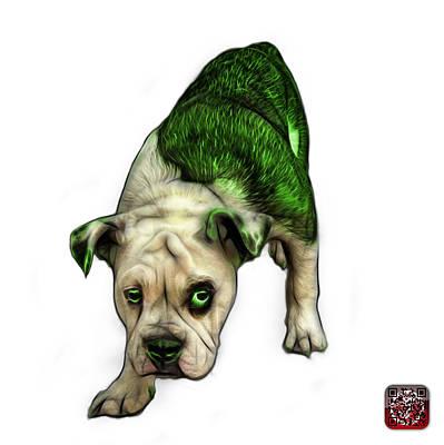 Painting - Green English Bulldog Dog Art - 1368 - Wb by James Ahn