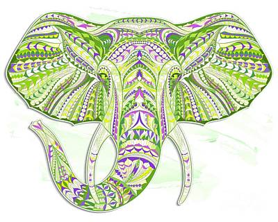 Painting - Green Ethnic Elephant by Aloke Creative Store