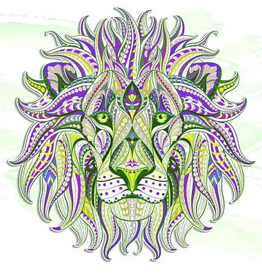 Painting - Green Ethnic Lion by Aloke Creative Store