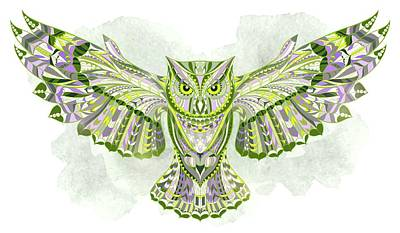Painting - Green Ethnic Owl by Aloke Creative Store