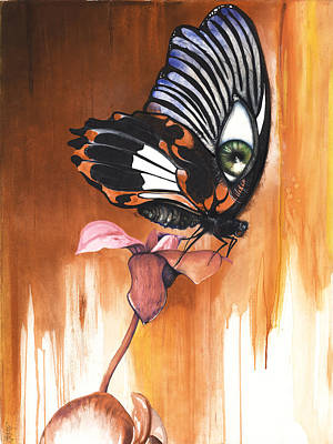 Mixed Media - Green Eye Butterfly by Anthony Burks Sr