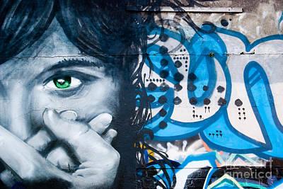 Vandalize Painting - Green-eye Graffiti Girl On The Brick Wall by Yurix Sardinelly