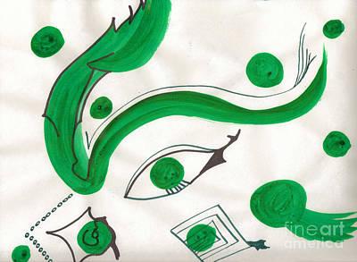 Mixed Media - Green Eye by Mary Mikawoz