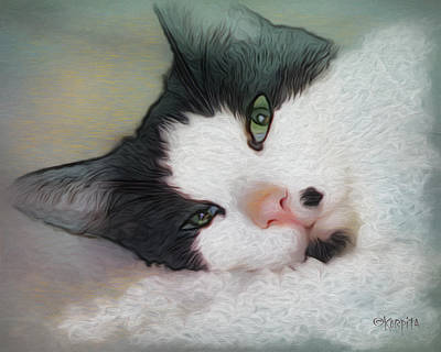 Photograph - Green Eyed Cat - Sleepy Kitty by Rebecca Korpita