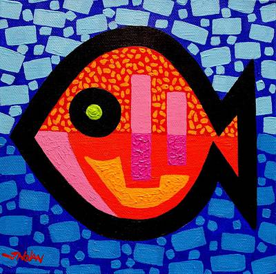 Contemporary Abstract Painting - Green Eyed Fish  by John  Nolan
