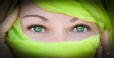 Photograph - Green-eyed Girl by TK Goforth