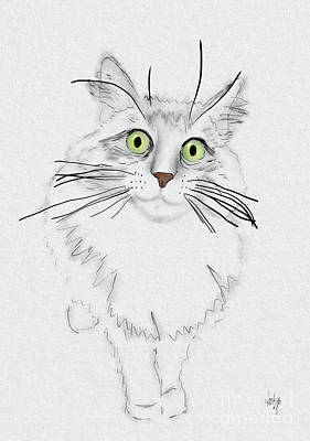 Digital Art - Green Eyed Greedy Cat by Lois Bryan