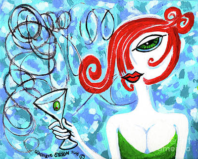 Green-eyed Redhead With A Martini Art Print by Genevieve Esson