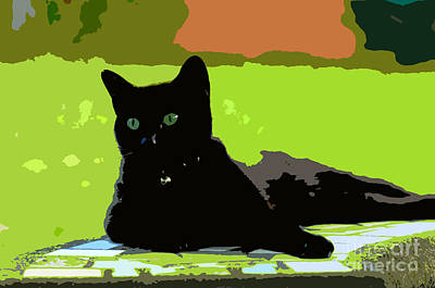 Colorful Cat Wall Art - Painting - Green Eyes by David Lee Thompson