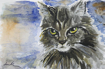 Gray Tabby Painting - Green Eyes by Laura Ross
