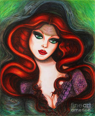 Drawing - Green Eyes by Tara Shalton