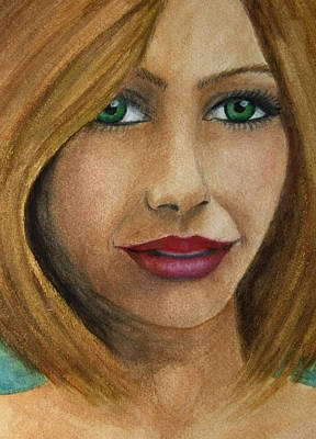 Painting - Green Eyes Upclose by Barbara J Blaisdell