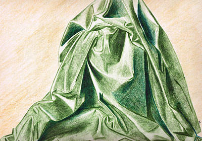 Colored Pencil Painting - Green Fabric by Zara GDezfuli