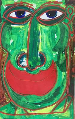 Painting - Green Face by Matthew Brzostoski