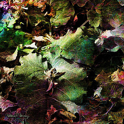 Digital Art - Green Fall Leaves by Barbara Berney