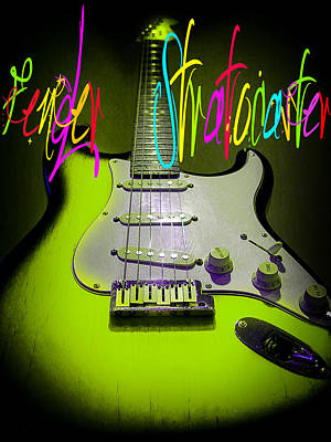Digital Art - Green Stratocaster Guitar by Guitar Wacky