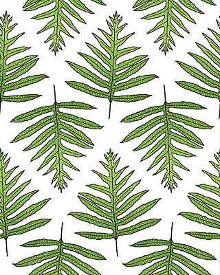 Digital Art - Green Fern Array by Karen Dyson