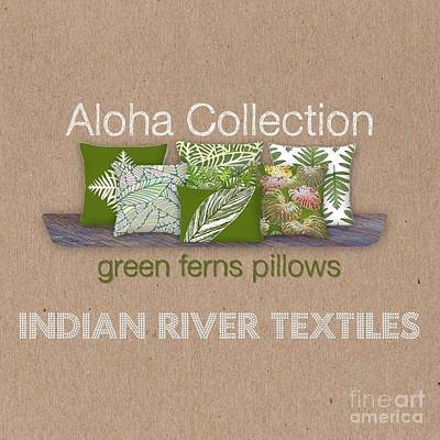 Digital Art - Green Ferns Pillow Collection by Karen Dyson