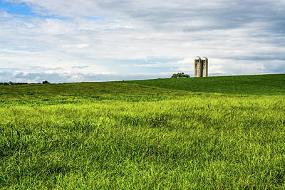 Photograph - Green Field And Silos by Tana Reiff