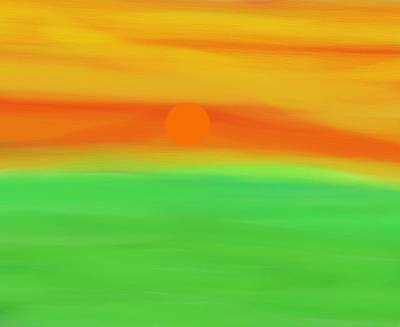 Green Field Summer Sunset Art Print