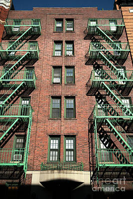 Photograph - Green Fire Escape In The Village by John Rizzuto