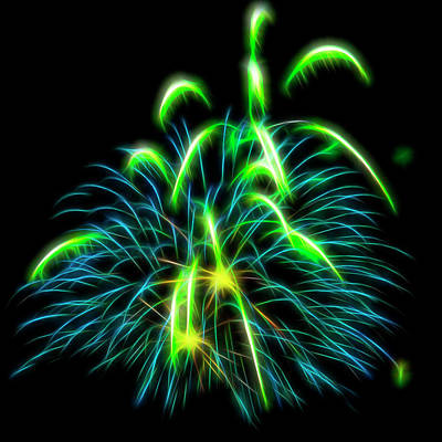 Photograph - Green Fireworks #6 by Yulia Kazansky