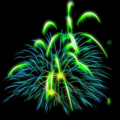 Photograph - Green Fireworks #6 by Yulia Kazansky