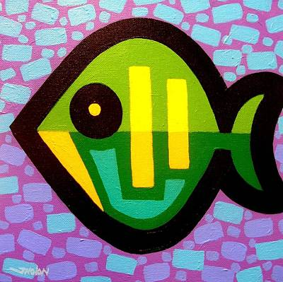 Colorful Tropical Fish Painting - Green Fish by John  Nolan