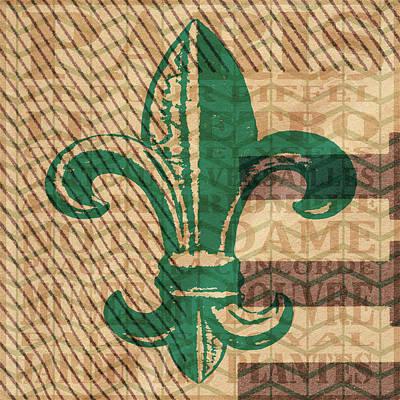 Fleur De Lis Digital Art - Green Fleur De Lis by Brandi Fitzgerald
