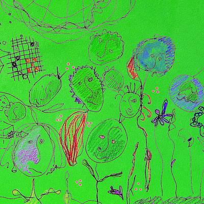 Green Flower People Art Print