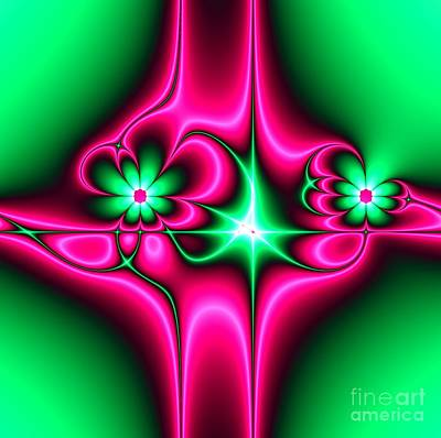 Royalty-Free and Rights-Managed Images - Green Flowers on Pink Ribbons Fractal 64 by Rose Santuci-Sofranko