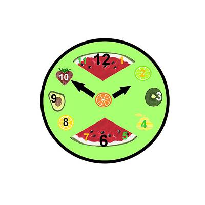 Watermelon Mixed Media - Green Food Clock by Kathleen Sartoris