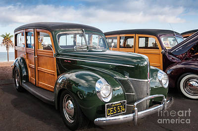 Photograph - Green Ford Deluxe Woodie by David Levin
