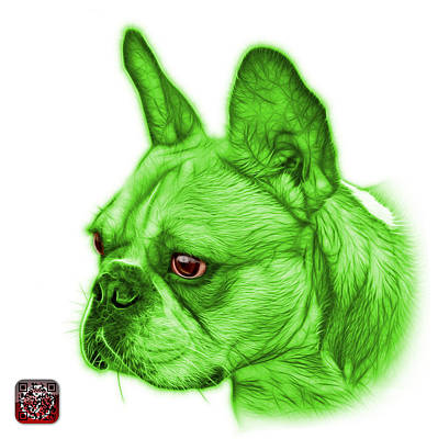 Painting - Green French Bulldog Pop Art - 0755 Wb by James Ahn