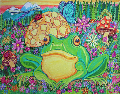 Flower Art Drawing - Green Frog With Flowers And Mushrooms by Nick Gustafson