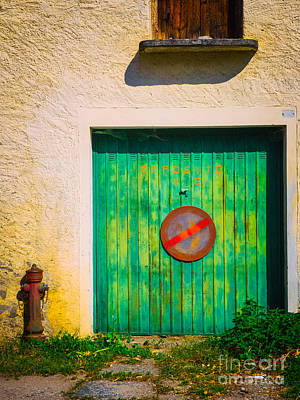 Photograph - Green Garage Door by Silvia Ganora