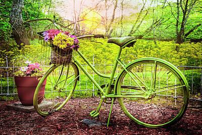Photograph - Green Garden Bike by Debra and Dave Vanderlaan