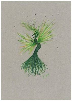 Art Print featuring the drawing Green Garden Fae by Dawn Fairies